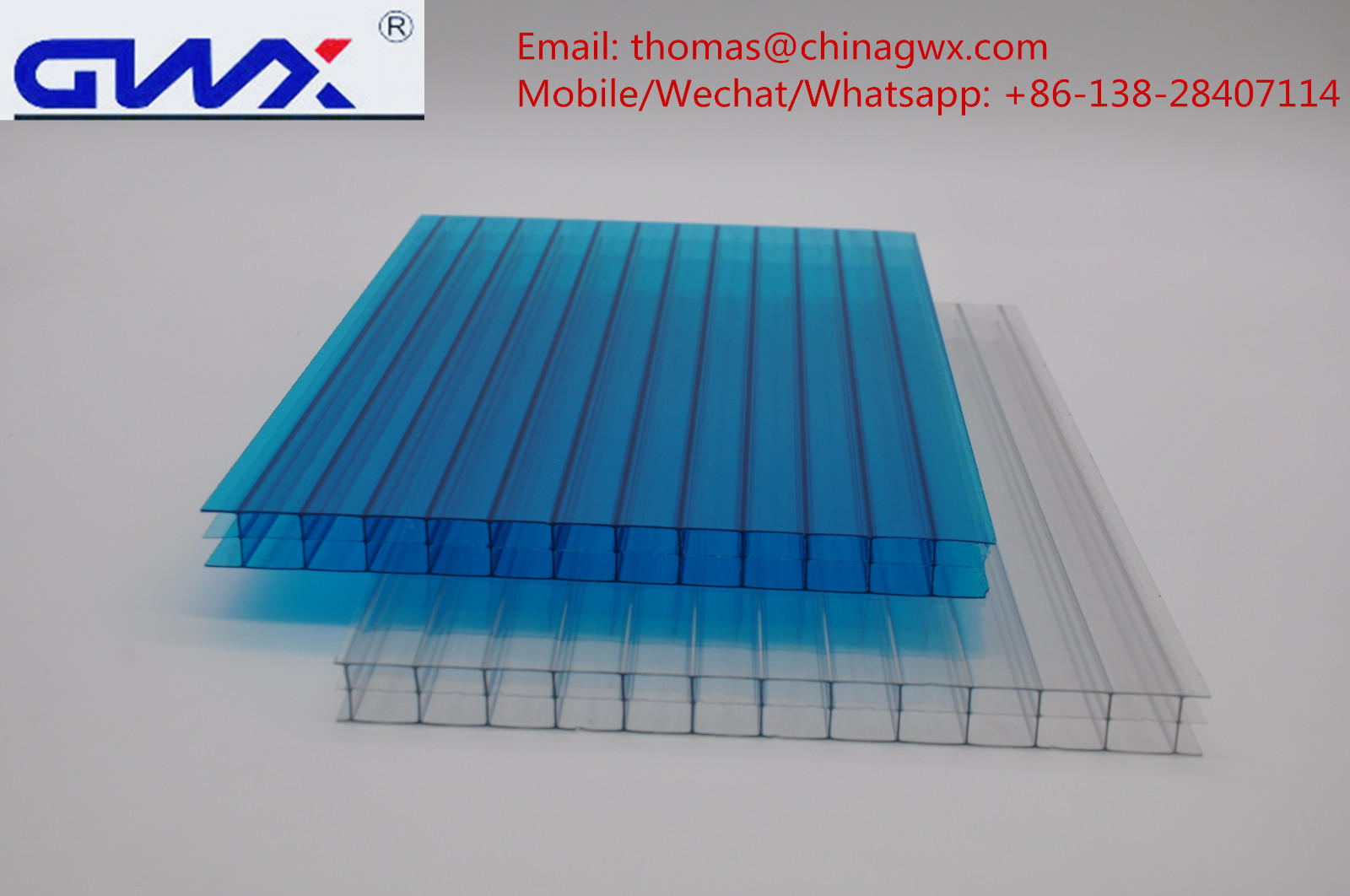 hollow swimming triple GWX Brand polycarbonate hollow sheet supplier