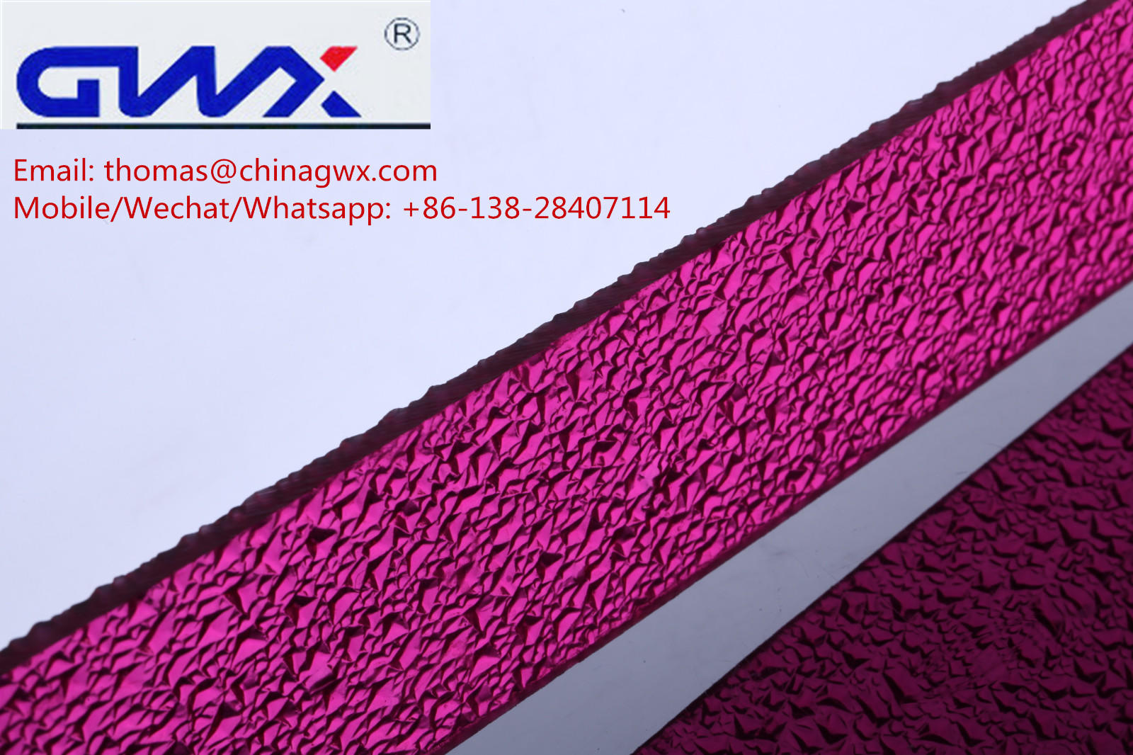 GWX lexan embossed polycarbonate factory direct for overpass