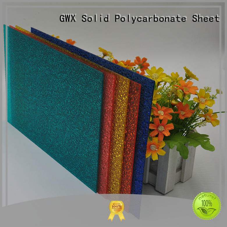 GWX anti-uv surface polycarbonate embossed sheet factory direct for door